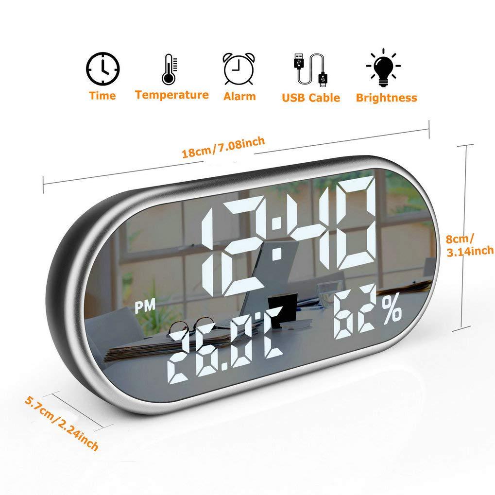 GuDoQi Despertador Digital Puertos USB Duales De Carga Reloj De Temperatura Y Humedad con 3 Alarmas 6.5 Pulgadas Pantalla Led Grande Superficie del Espejo 3 ...