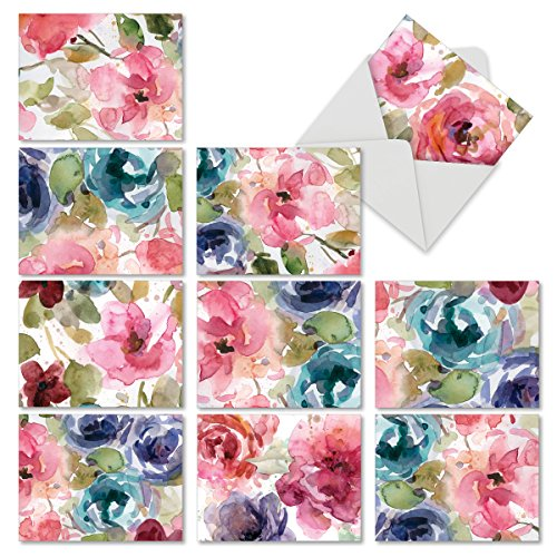 10 Watercolor Note Cards w/ Envelopes, Assorted 'Lush Blooms' Blank Greeting Cards (4 x 5.12 Inch), Beautiful All Occasion for Weddings, Baby Showers, Sympathy -