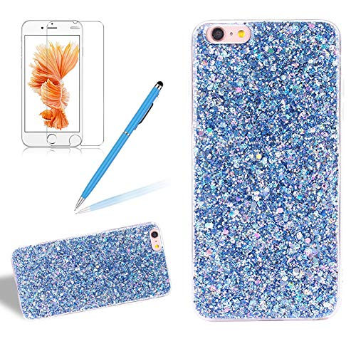 (for iPhone 6/6S Glitter Case with Screen Protector,Girlyard Luxury Sparkle Bling Sequins 3D Design Ultra Slim Clear Soft TPU Bumper Phone Cover for Apple iPhone 6S/6-Blue)