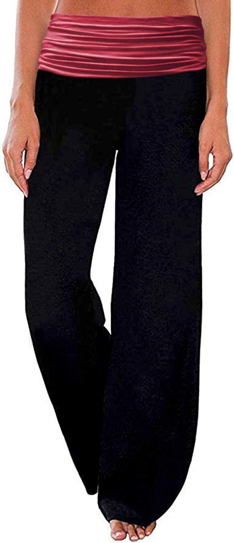 Gracyoga Womens Comfy Casual Pajama Pants Floral Print Fold Waist Palazzo Lounge Pants Wide Leg