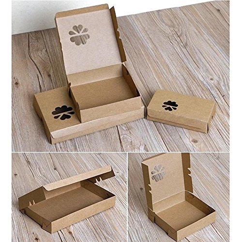Lavenz 3 Sizes Flat brown kraft gift box with window,hair extension packaging box, kraft paper cardboaed box for packing