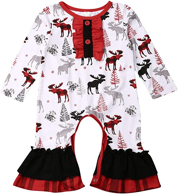 Kids Girl Elk Long Sleeve Dress Christmas Outfit Dress Xmas Clothes Costume NEW