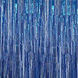 Anhoo 3.2 ft x 9.8 ft Metallic Tinsel Foil Fringe Curtains for Party Photo Backdrop Wedding Event Decoration (Blue,3 pcs)
