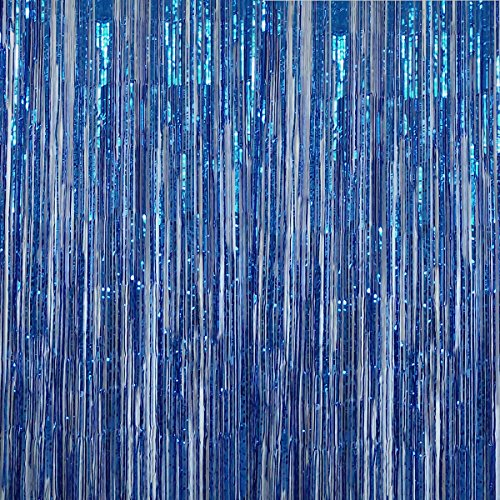 Anhoo 3.2 ft x 9.8 ft Metallic Tinsel Foil Fringe Curtains for Party Photo Backdrop Wedding Event Decoration (Blue,3 pcs) by Anhoo