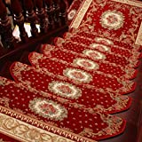 KEYAMA Acrylic Set of 15 indoor Floral/Flowers carpet stair treads free tape Non-slip stair carpet Treads carpet staircase decorative area rugs 9''W x 30''L Red 059