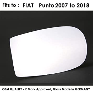 FIPunto 1999 to 2006 Heated Driver Side Silver Door Mirror Glass Including Base Plate RH