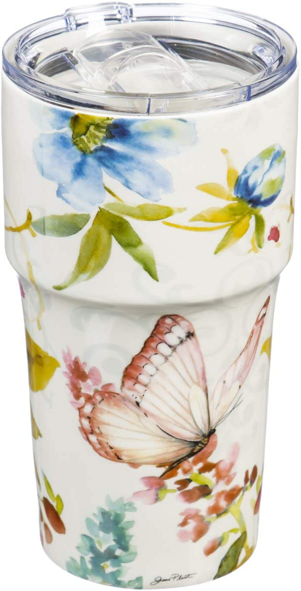 Garden Bliss Double Wall Ceramic Cup - 5 x 7 x 4 Inches