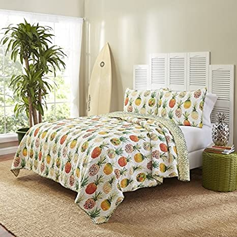 3 Piece Yellow Green White Pineapple Theme Quilt Full Queen Set, Pretty All Over Tropical Fruit Plant Bedding, Beautiful Stylish Chic Multi Fruity Pineapples Hawaiian Fruit Themed Pattern, Orange Lime by D&H