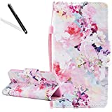 Flip Case for Huawei Honor 9 Lite,Wallet Cover for Huawei Honor 9 Lite,Leecase Elegante Pretty Creative Strap Colorful Flower Design Bookstyle Wrist Strap Magnetic Card Slots Pu Leather Soft Inner Stand Function Protective Folding Wallet Case Cover for Huawei Honor 9 Lite + 1 x Free Black Stylus-Colorful Flower