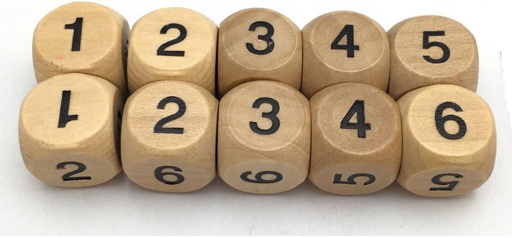 Smartdealspro - Juego de 10 dados de madera con números 1-6, 16 mm, 6 caras, para DND RPG MTG Wow Table Games