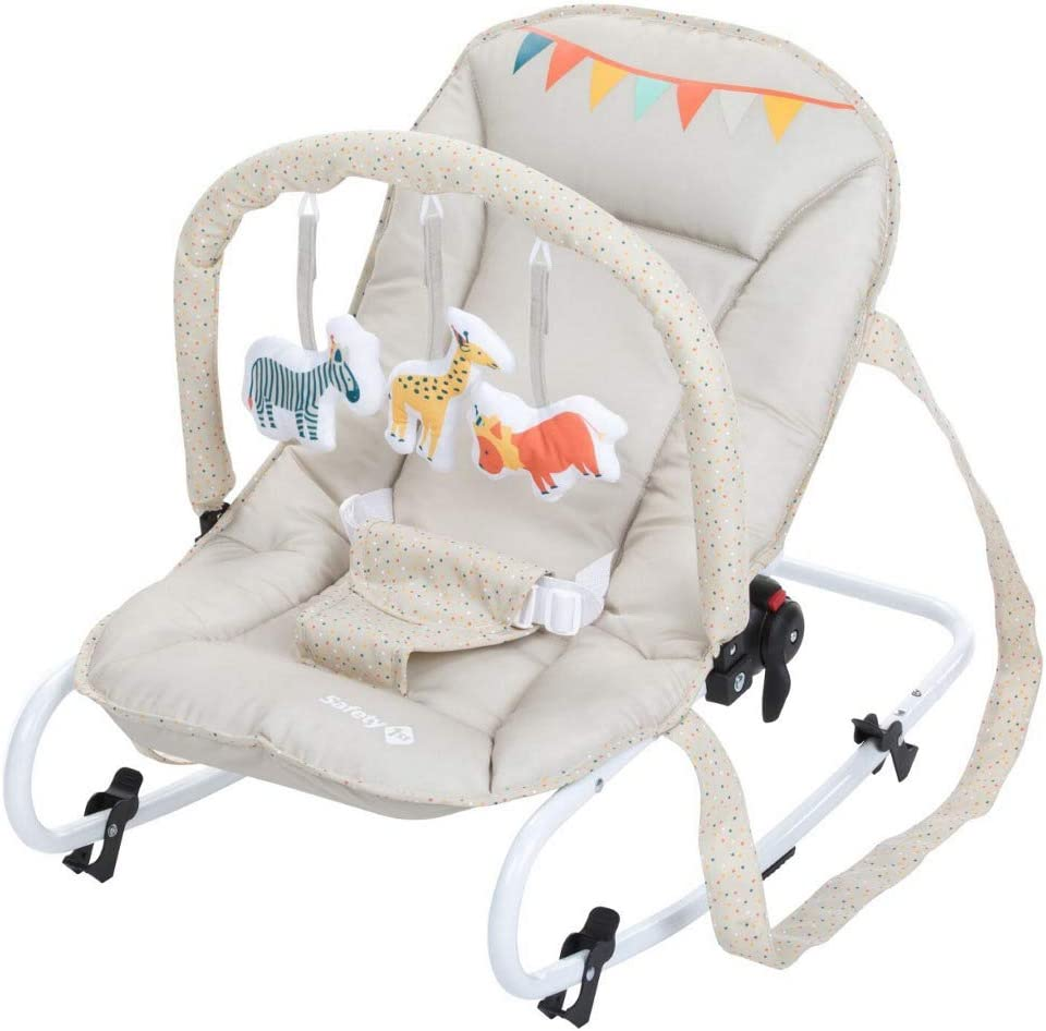 Safety 1st Koala Gandulita reclinable para bebé con funcion mecedora, Hamaca con arco de juego, ligera y compacta, color happy Day