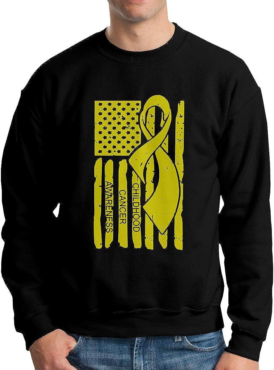 Childhood Cancer Awareness Ribbon Us Flag Mens Sweatshirts Pullover Crew Neck Sweatshirt