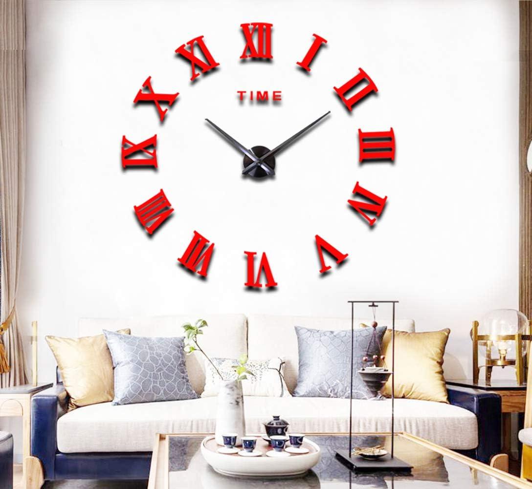 FASHION in THE CITY 3D DIY Wall Clocks Acrylic Mirror Surface Luxury Wall Decor Sticker Clocks (Red)