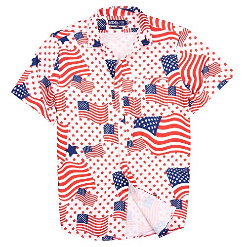 American Pineapple - Urban Boundaries Men's Lightweight Short Sleeve American Flag Beach Pineapple Shirts (American Flag, Slim Fit: Medium)