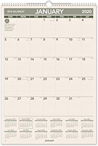 """AT-A-GLANCE 2020 Monthly Wall Calendar, 15-1/2"""" x 22-3/4"""", Large, Wirebound, Recycled (PM3G28)"""