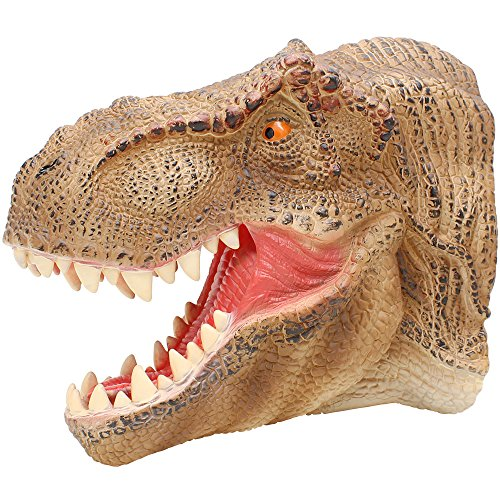 Lebze Tyrannosaurus Rex Head Hand Puppet ,Large Soft Rubber Realistic Dinosaur Toys Hand Puppets