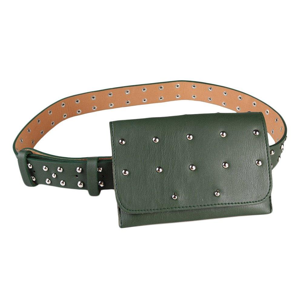 BAGGY Womens Casual Waist Bag Belt Waist Bag Mini Pu Leather Belt Bag Green Rivet