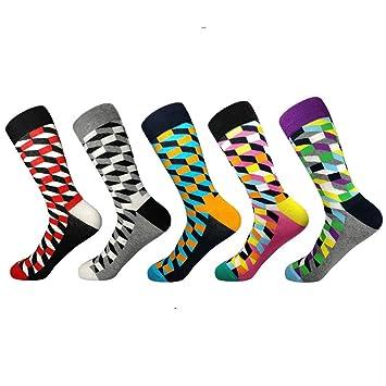 LILIKI@@ Calcetines Casuales para Hombre Calcetines para Hombres Otoño E Invierno Tela Escocesa Tubo