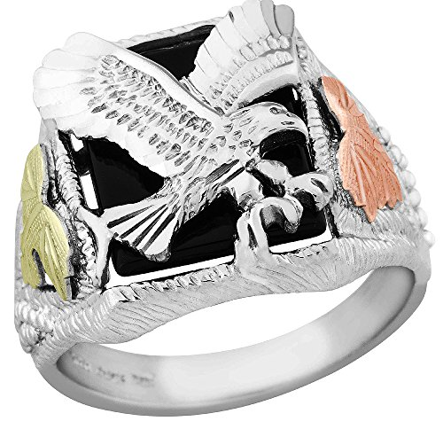 Gorgeous! Sterling-Silver & Gold Black Hills Gold Men's Black Onyx Eagle (Black Onyx Eagle Ring)