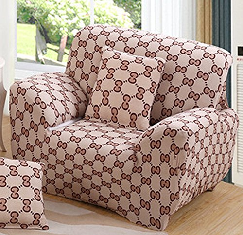 - ChezMax Printed Couch Cover Polyester Spandex Fabric Sofa Cover 1 Piece Soft Stretched Loveseat Sofa Slipcovers