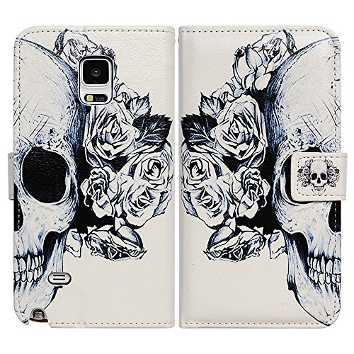 Skull Cover - Bfun Packing Bcov White Floral Skull Wallet Leather Cover Case for Samsung Galaxy Note 4