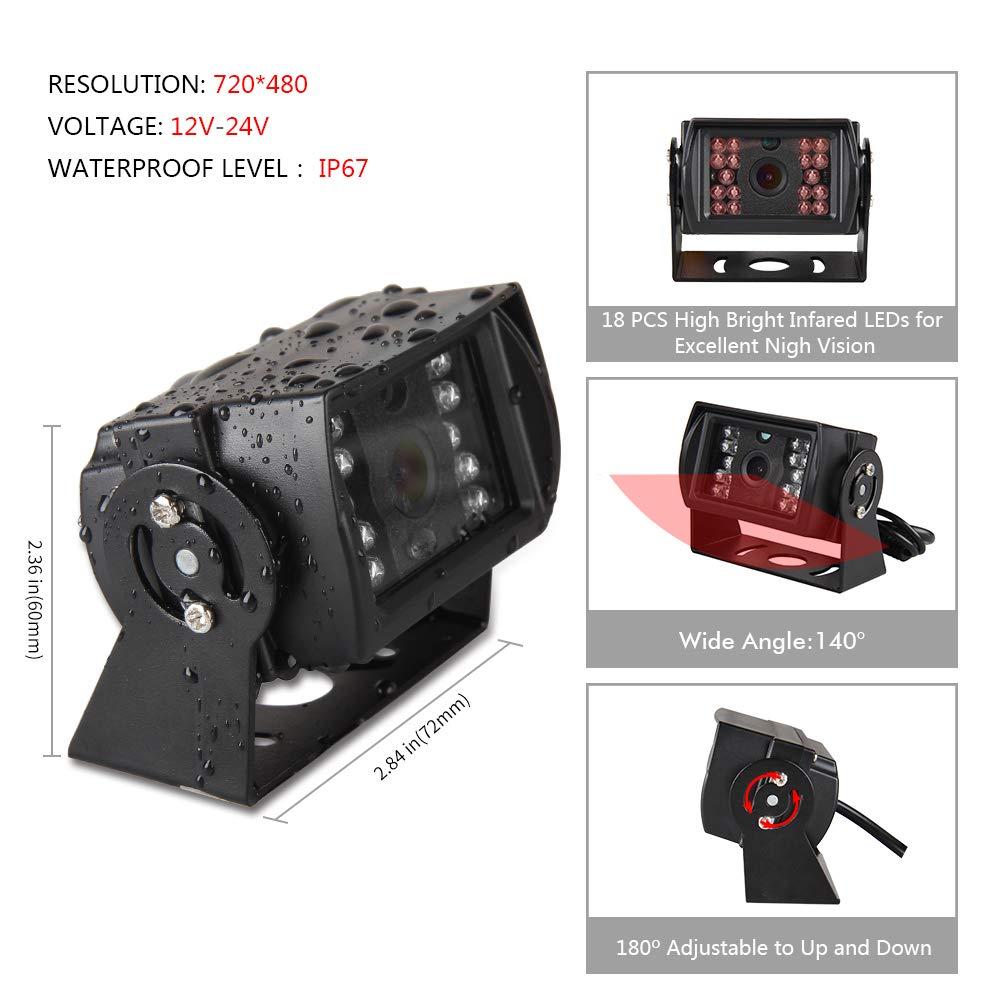 7 TFT LCD HD de Visi/ón Trasera Monitor para 12V-24V RV//Trailer//Truck//Caravan,18 IR LED Visi/ón Nocturna Impermeable Visi/ón Trasera C/ámaras Kit C/ámaras de Marcha Atr/ás veh/ículo 49ft 4 pines cable