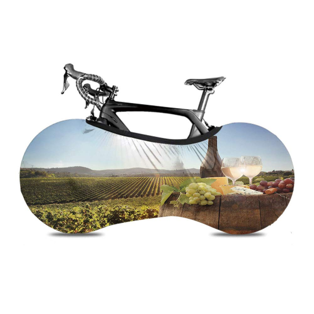 White Wine with Barrel on Famous Vineyard in Chianti Tuscany Agriculture,Mountain Road Electric Moto Bikes Cover,Green Brown Light Blue,63x22 inch,Wet Water Sun Protection for Transport