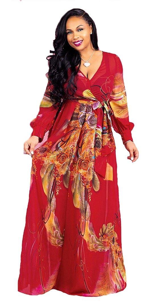 824b1028a HAOOHU Summer Chiffon Dress Women Floral Wrap V Neck Plus Size Boho Maxi  Dress Flowy Chiffon Dresses with Belt at Amazon Women's Clothing store: