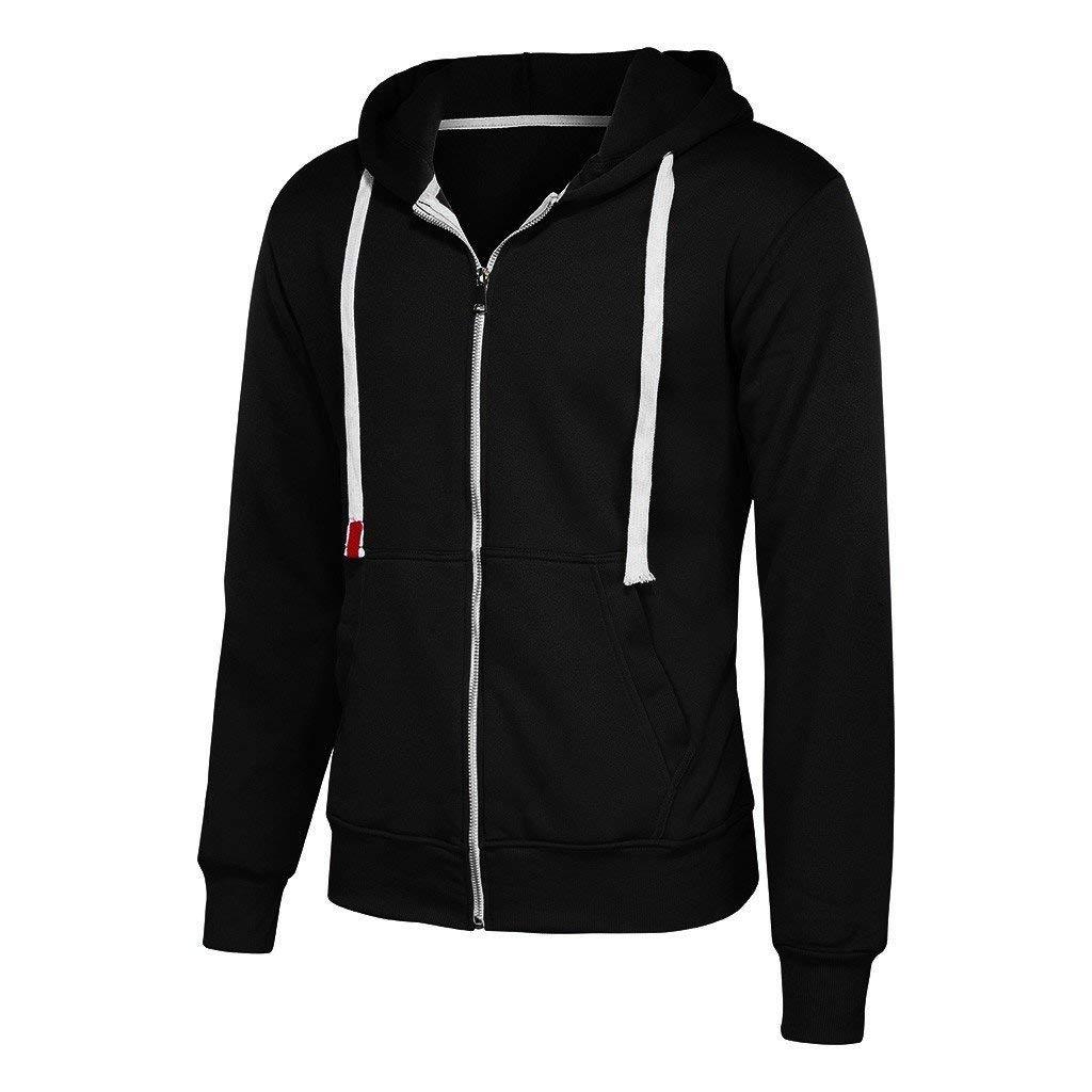 Daopwlkom Mens Full Zip Hooded Sweatshirts Long Sleeve Pullover Hoodie Solid Color Sport Outwear Jacket Tops with Pockets