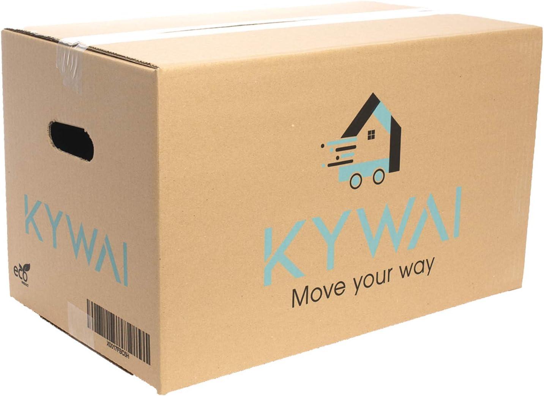 KYWAI. Pack 15 Cajas Carton Mudanza y Almacenaje 500x300x300. Grandes con asas. Ultraresistentes. Caja carton reforzado. Fabricadas ESPAÑA 100% ECO.