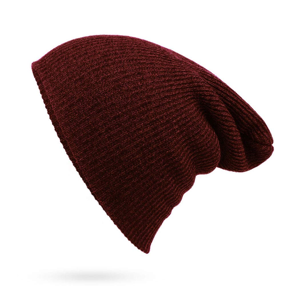 WEILAI Mens Winter Warm Knitting Hats Plain Beanie Cuff Toboggan Baseball Knit Cap