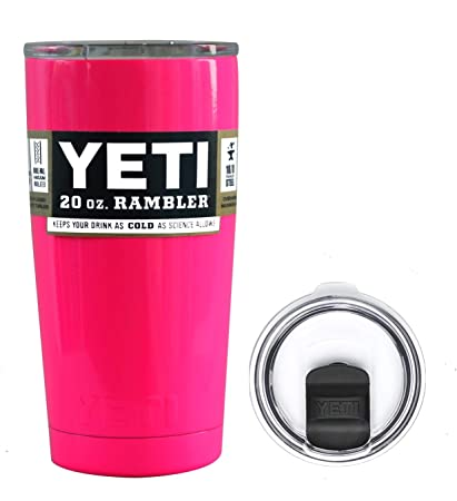 1a2272e7643 Amazon.com: YETI Coolers 20 Ounce (20oz) (20 oz) Custom Rambler Tumbler Cup  Mug Bundle with New Magslider Spill Proof Lid (Hot Pink Neon): Kitchen &  Dining