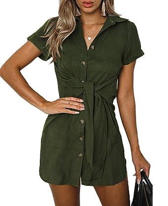 84833d47 Qearal Dress for Women Summer,Women's Sundress Front Tie Button Down Short  Belt Dress Army