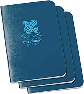 """product image for Rite In The Rain Weatherproof Mini-Stapled Notebook, 3 1/4"""" x 4 5/8"""", Blue Cover, Universal Pattern, 3 Pack (No. 271FX-M)"""