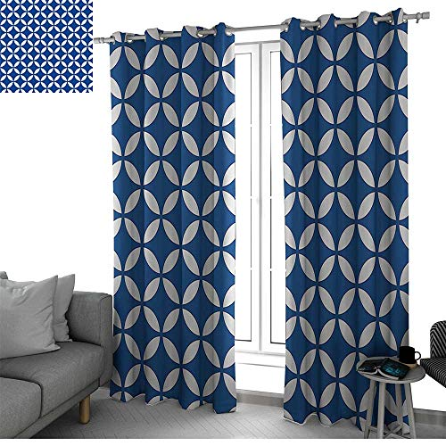 Benmo House Navy Room Divider Curtain Screen Partitions Vintage Circles with Overlapping Rounds Oval Figures Old Fashion Graphic Art Curtain Holdback Royal Blue White W108 x L108 -