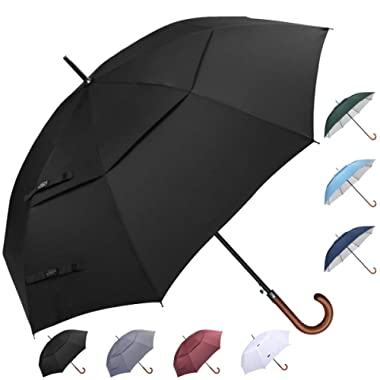 G4Free 52/54/62inch Wooden J Handle Golf Umbrella Windproof UV Protection & Classic Stick Wedding Umbrella, Auto Open Cane Hook Handle