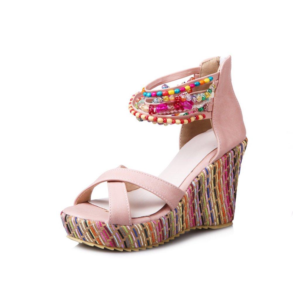 Sandaletten High Heels Plateau Bouml;hmisch Sommer Wedges Schuhe Keilabsatz Peeptoe Pumps Perlenketten Damen  40 EU|Pink