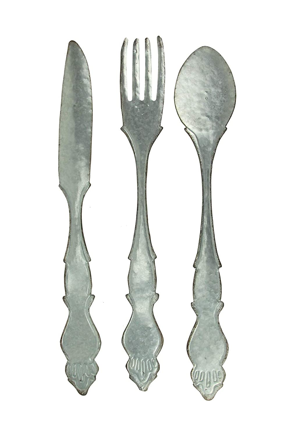 Zeckos Extra Large Galvanized Metal Fork Spoon Knife Farmhouse Kitchen Decor Wall Hanging Set