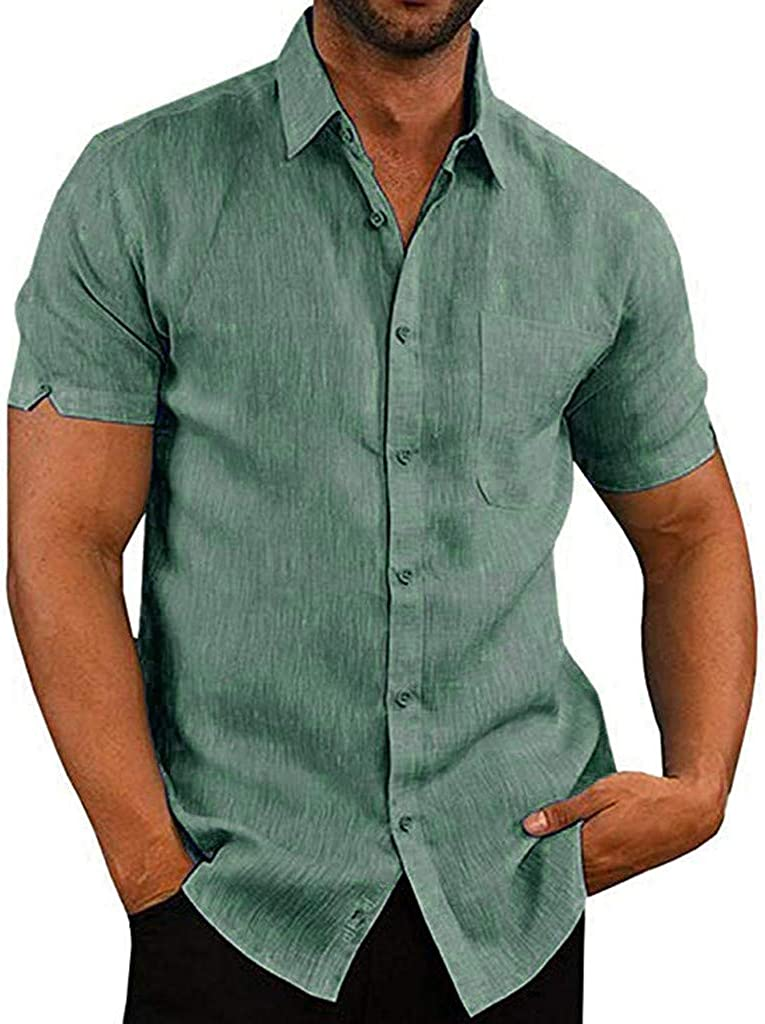 Shirt for Men F/_Gotal Mens T-Shirts Fashion Summer Short Sleeve Solid Color Slim Fit Casual Blouse Tops with Pockets
