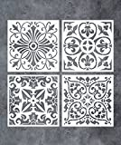 GSS Designs Pack of 4 Stencils Set (6x6 inch) Tile Stencil Painting On Floor Tiles Wall Fabric Wood Furniture - Laser Cut Reusable Stencils (SL-018)