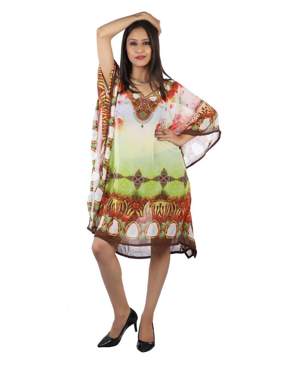 Bayside Barcelona Multicolor Caftan de Las Mujeres de la Cristales embellecidos Digital Kimono Ropa de Playa de Verano Vestido de Fiesta: Amazon.es: ...