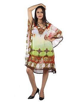 Bayside Barcelona Multicolor Caftan de Las Mujeres de la Cristales embellecidos Digital Kimono Ropa de Playa