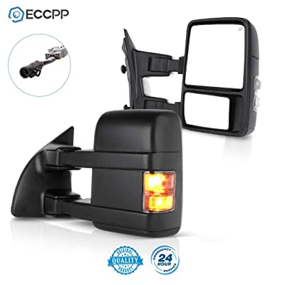 ECCPP Towing Mirror by Side Mirror Replacement for 1999-2007 Ford F250 F350 F450 F550 Super Duty with Power Heated Smoke Turn Signal Telescopic: Automotive