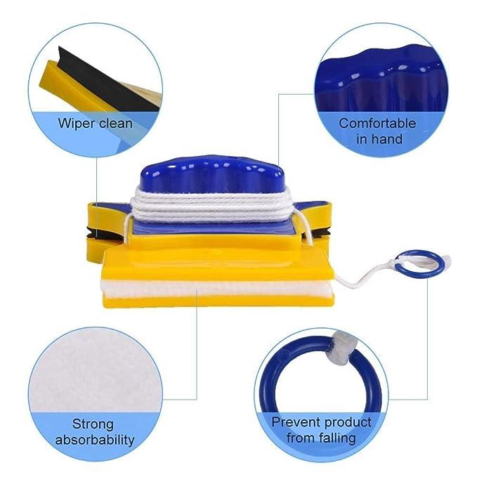 Limpiador de Ventanas magnético Cuadrado Limpiador de Vidrio de Doble Cara con 2 limpiadores adicionales de algodón Escobilla de Goma Equipo de Lavado ...