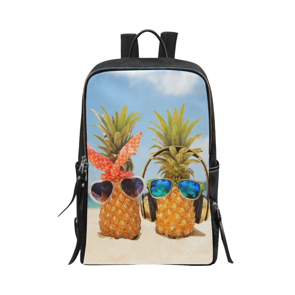 InterestPrint Unisex School Bag Funny Tropical Summer Beach Pineapples Wearing Sunglasses Casual Shoulder Backpack Travel Daypack 15'' Laptop Bag for Women Men Adult