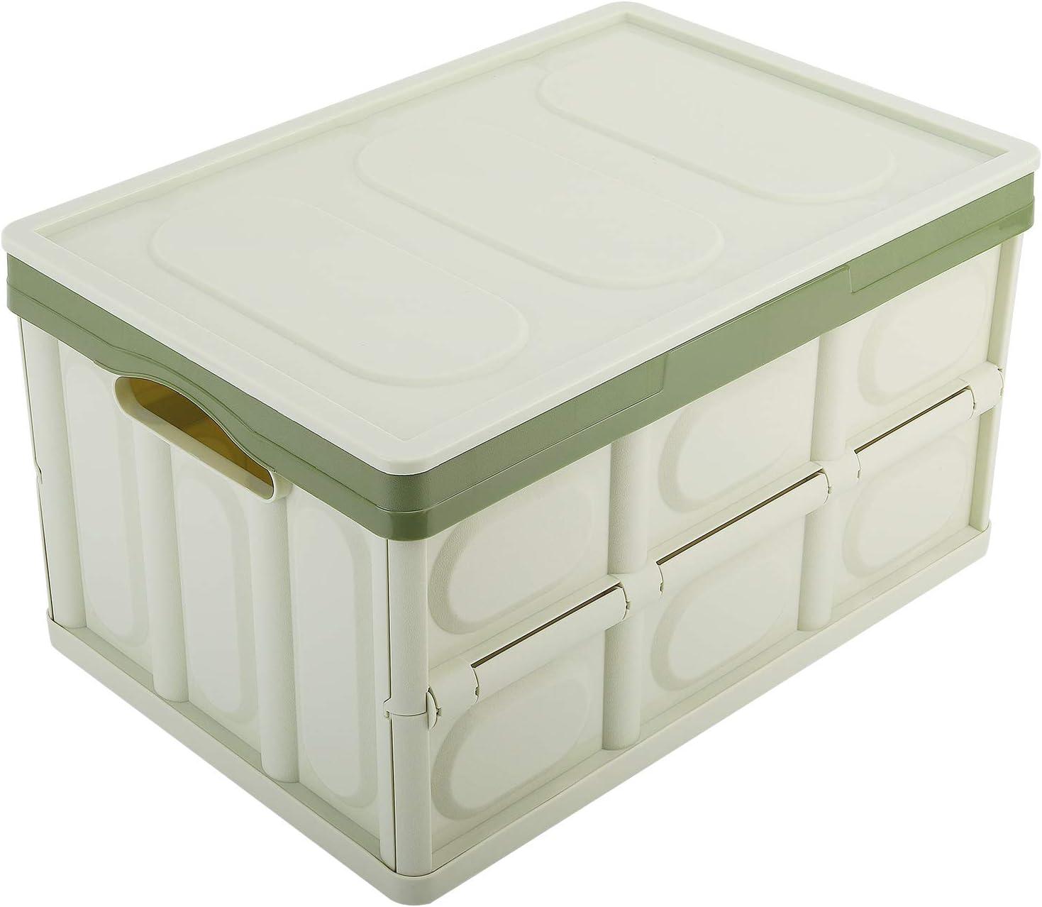 MoKo Caja de Almacenamiento Plegable, Contenedor de Plástico 30L Almacenaje Plegable Organizador con Tapa Adjunta para Oficina/Hogar/Habitación - Verde Claro