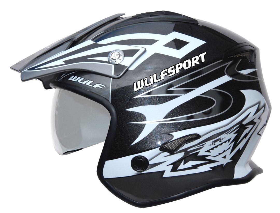 Wulfsport Adulte Vista Trials Open Face Moto Scooter Casque Noir L 59-60cm
