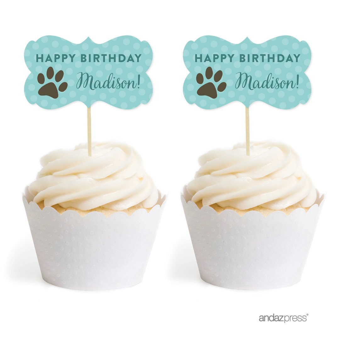 Andaz Press Personalized Birthday Cupcake Toppers DIY Party Favors Kit, Animal Pawprint, Double-Sided, 18-Pack, Custom Name