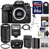 Nikon D7500 Wi-Fi 4K Digital SLR Camera Body with 70-300mm DX AF-P Lens + 64GB Card + Battery & Charger + Case + Tripod + Flash + Kit