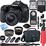 Canon EOS 80D CMOS DSLR Camera w/EF-S 18-55mm F3.5-5.6 IS STM Lens Kit + Accessory Bundle 64GB SDXC Memory + DSLR Photo Bag + Wide Angle Lens + 2x Telephoto Lens + Flash + Remote + Tripod & More